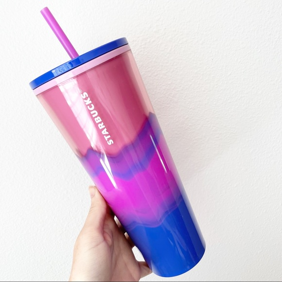 Starbucks Watercolor Marble Blue Pink Cold Cup